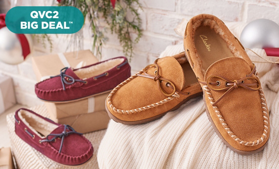 QVC2 Big Deal™ — Clarks Suede Slippers