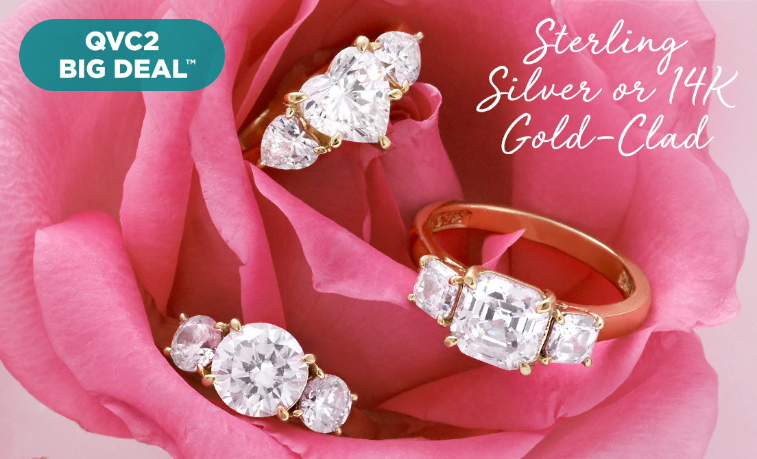 QVC2 Big Deal™ — Diamonique® Ring — Sterling Silver or 14K Gold-Clad