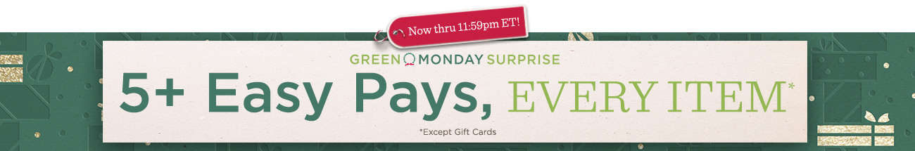 Green Monday Surprise Now thru 11:59pm ET! — 5+ Easy Pays, Every Item Except Gift Cards