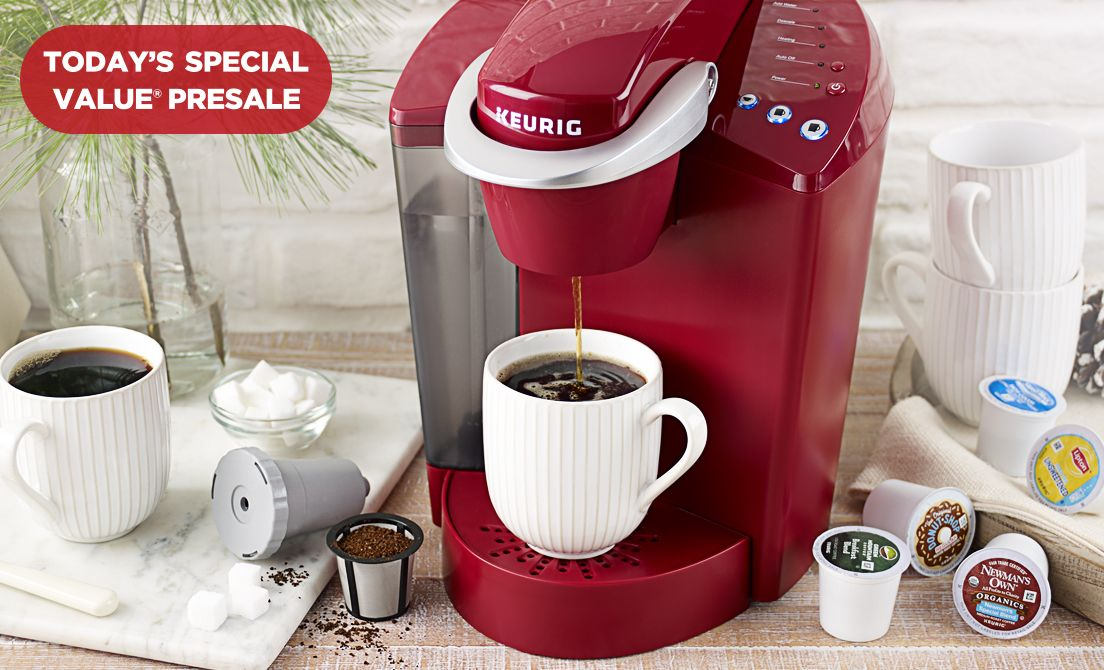 'Today's Special Value® Presale — Keurig K55 Coffee Maker' from the web at 'http://qvc.scene7.com/is/image/QVC/pic/hp/seq4_spot1_20171208.jpg'