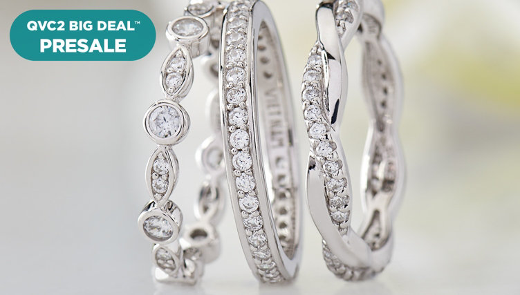 QVC2 Big Deal™ Presale — Diamonique® Set — Stack on these three eternity bands under $47