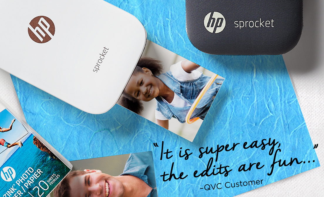 "HP sprocket. ""It is super easy, the edits are fun..."" QVC Customer"