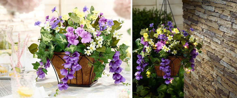 Hanging Flower Baskets With Lights : Qvc bethlehem lights prelit wisteria hanging basket w