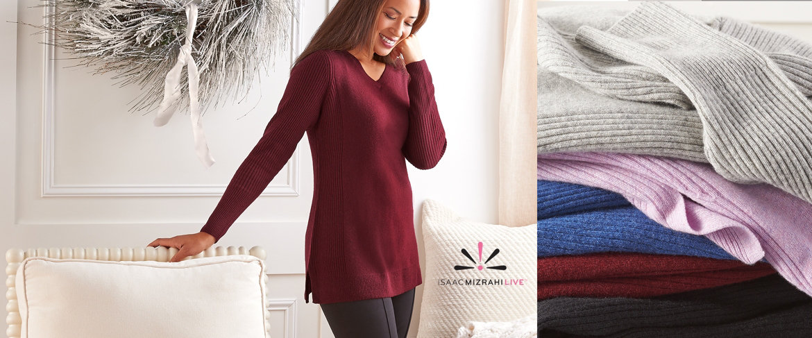 Today's Special Value® — Isaac Mizrahi Live! 2-Ply Cashmere V-neck Tunic Sweater