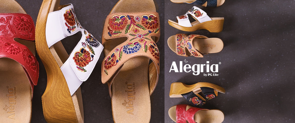 Today's Special Value® — Alegria Embroidered Leather Slip-On Wedge Sandals - Linn