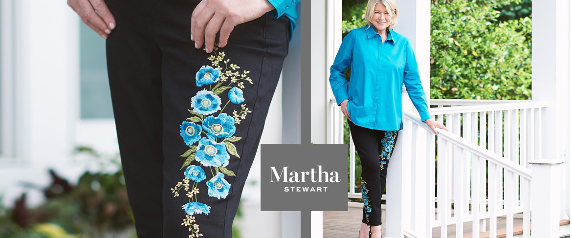 Today's Special Value® — Martha Stewart Embroidered 5-Pocket Ankle Jeans