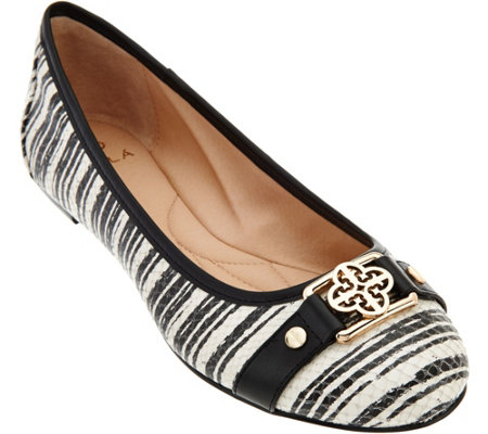 Isola Classic Ballet Flats w/ Gold-Tone Hardware