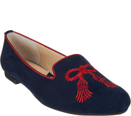 Adrienne Vittadini Suede Embroidered Flats- Doloris