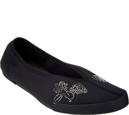 New York Transit Crystal Embellished Flats- Flowering Idea