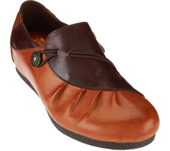 L'Artiste by Spring Step Ruched Leather Loafers- Clove - S8448