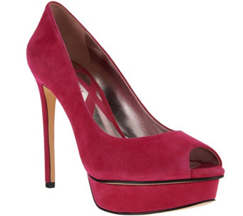 Nine West Suede Open-Toe High-Heel Platform Pumps-Edlyn - S8349