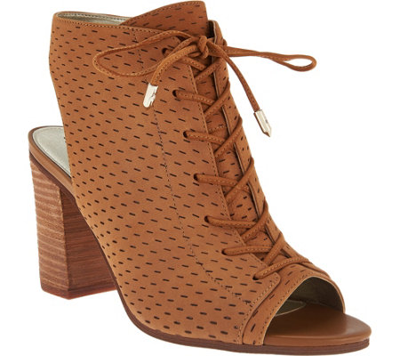 Sam Edelman Open-Toe Perforated Lace-up Booties - Ennette