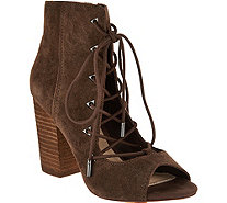 Fergie Riviera Lace Up Peep Toe Booties - S8850