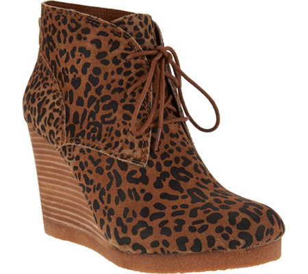 Lucky Brand Wedge Lace Up Booties - Taheeti