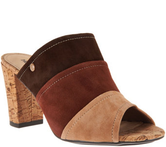 Hush Puppies Color Block Suede Peep-Toe Mules- Mora Malia - S8568