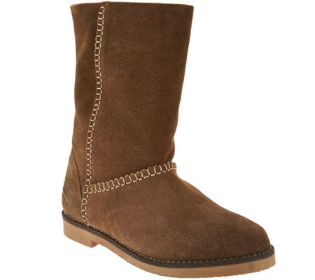 Coolway Suede Boots with Faux Sherpa- Azalea
