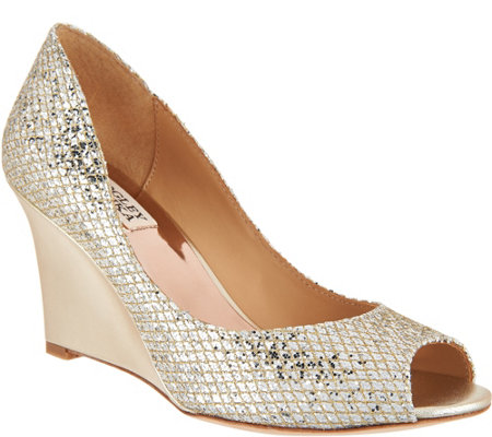 Badgley Mischka Awake Glitter Evening Wedges