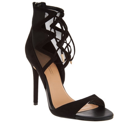Daya by Zendaya Peep Toe Lace Up Heels -Anderson