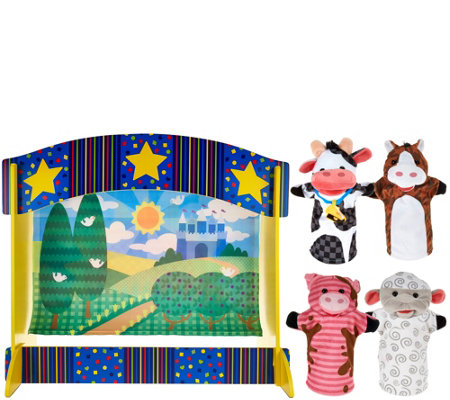 Melissa & Doug Tabletop Puppet Theater w/ 4 Hand Puppets