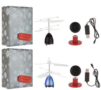 Set of Two Light-Up Rocket Lev-i-copters w/ Gift Wrap - T34322