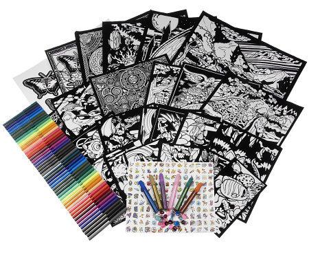 100-Piece Velvet Art Coloring Kit w/ Markers & Embellishments ...
