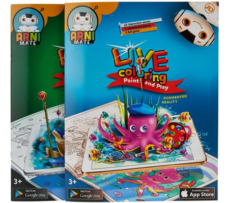 Set of Two Live Coloring Books w/ Interactive App & Games
