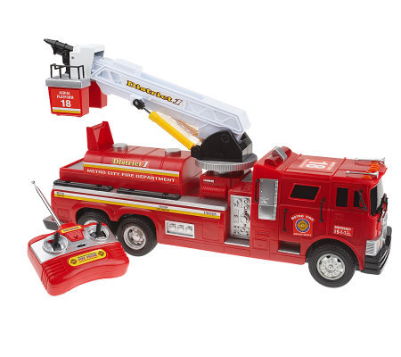 Big Red Deluxe Radio Control Fire Engine w/ MotorizedLadder Sound & Lights