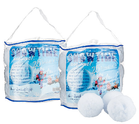 Set of Two 25-Count SnowTime Anytime Indoor Snowballs