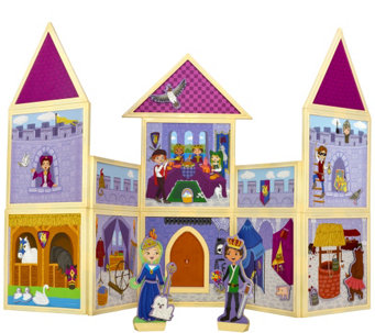 Build & Imagine 79 piece Magnetic Castle Building Set w/ Wooden Dolls - T34244
