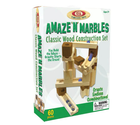 60 Piece Amaze 'N' Marbles Classic Wood Construction Set