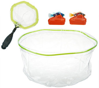 """As Is"" Set of 2 Rechargeable Fish w/ Tank & Net - T137157"