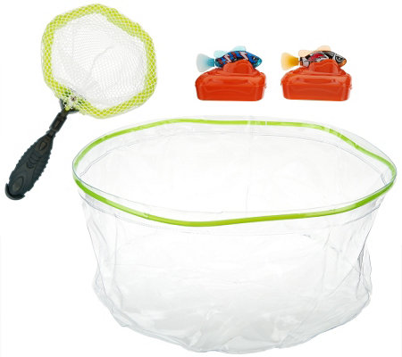 """As Is"" Set of 2 Rechargeable Fish w/ Tank & Net"