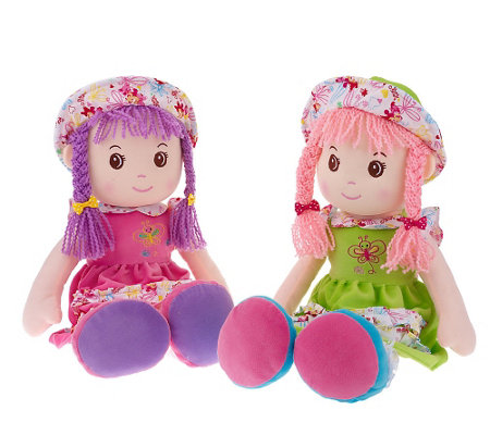 """As Is"" Set of 2 Lollipop Kidz 20"" Soft-Bodied Rag Dolls"