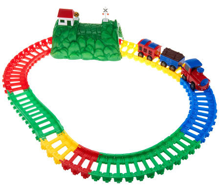 """As Is"" Twister Trax 13 ft. Train Set with Remote Control Lighted Train"