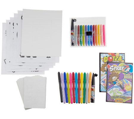 Dotza Amp Sprayza 109 Piece Creative Color Activity Set W