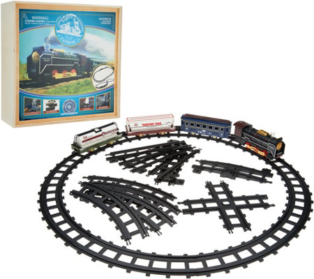 Holiday Express Railroad Train with Adjustable Track, 27 piece & Wooden Box