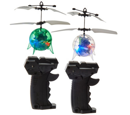 Set of Two Light Up Levitating Spheres w/ Remote Control