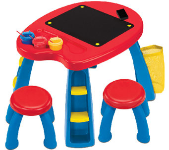 Crayola Creativity Play Station with Table, Stools, Brushes - T127477