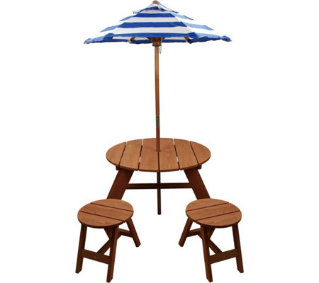 Homeware Wood Kids Round Table w/ Umbrella and2 Chairs