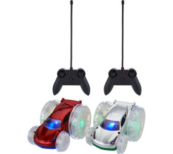 Set of Two Turbo Flip RC Light-Up Vehicles - T34477