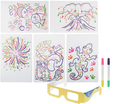 Glow Pad Activity Set w/ Markers, Illustrations & 3D Glasses