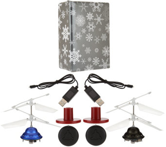 Set of Two Light-Up Hovering Lev-i-copters w/ Gift Wrap - T34292