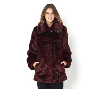Dennis Basso Platinum Collection Faux Mink Coat with Shawl Collar - 156300