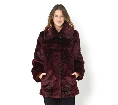 Dennis Basso Platinum Collection Faux Mink Coat with Shawl Collar