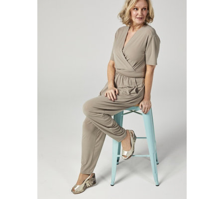 Kim & Co Brazil Knit Short Sleeve Jumpsuit