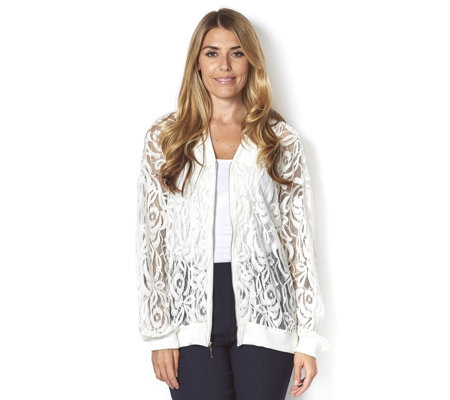 Chelsea Muse by Christopher Fink Lace Bomber Jacket