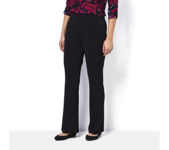 Kim & Co Silky Brazil Knit Pin Tuck Fit Flared Trousers Petite Length - 161800