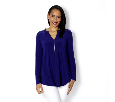 Fashion by Together Stud Shoulder Detail Zip Front Tunic
