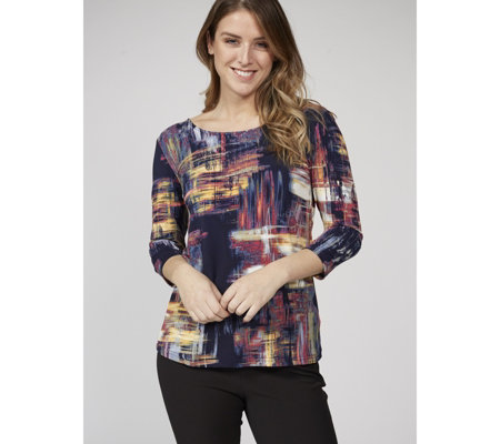 3/4 Sleeve Printed Top with Cross Back Detail by Nina Leonard