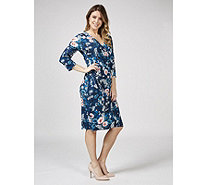 Joe Browns Fixed Wrap Jersey 3/4 Sleeve Dress - 170800